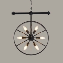 Wheel Shaped Industrial 6 Light Coffee Bar Commercial LED Lighting in Black Finish