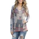 Women Geometrical Printed Kangaroo Pocket Pullover Hoodie Sweatshirt