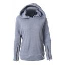 Women's Casual Funnel Neck Zip Sleeve Hoodie Jacket