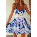 Fashion Floral Print Cut Out Lace Waist Spaghetti Straps A-line Short Dress