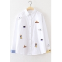New Arrival Embroidered Cat House Contrast Cuff Button Down Shirt