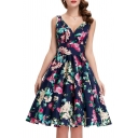 New Arrival Women's Vintage Wrap Front V-neck Sleeveless Floral Swing Dress