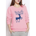 New Arrival Fashion Cartoon Deer Print Round Neck Pullover Sweatshirt