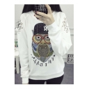 Fashion Owl Print Cut Out Long Sleeve Round Neck Sweatshirt