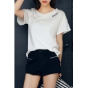 Fashion V-neck Hollow Letter Print Short Sleeve T-shirt