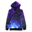 Unisex Fashion Galaxy Drawstring Hooded Sweatshirt