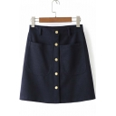 Autumn Fashion Button Down High Waist Skirt with Pocket
