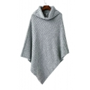 New Arrival Fashion Gray Turtleneck Asymmetrical Knitted Cape