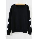 Fashionable Embroidered Heart Long Sleeve Round Neck Sweatshirt
