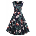 New Women's Vintage Floral Print Sleeveless Swing A-line Midi Dress