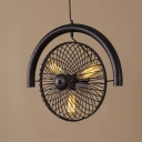 Mottled Black Three Light LED Hanging Pendant with Metal Loop
