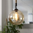 8'' Wide Small Amber Glass LED Pendant with Rope Chain