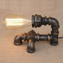 Industrial Pipe 1 Light LED Table Lamp in Bronze Finish