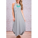 Women's Fashion Striped Maxi Dress Sleeveless Casual Beach Dress