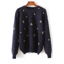New Arrival Star Print Round Neck Long Sleeve Sweater