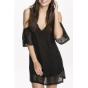 Sexy Cold Shoulder Deep V-neck Cross Back Lace Dress in Black