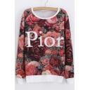 Fashion Letter Floral Print Contrast Trim Pullover Sweatshirt