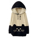 Woman Girls Kawaii Cat Face Tail Hoodie with Cute Hat Fleece Sweater Shirt