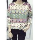 Women's Fashion Polka Dot Geo Print Round Neck Long Sleeve Sweatshirt