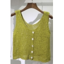 Women's Fashion Knitted Sleeveless Top Button Front Crop Top