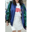 Women's Fashion Reversible Embroidered Rose Detail Baseball Jacket