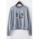 2016 Fashion Cactus Embroidered Long Sleeve Round Neck Sweatshirt