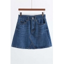 New Arrival Fashion High Waist A-line Denim Skirt