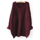 Women Long Sleeve Round Neck Knitted Sweater Batwing Sleeve Tops Cardigan Loose Blouse Coat