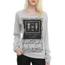 Pattern Logo Print Grey Long Sleeve Cute Pullovers Sweatshirts