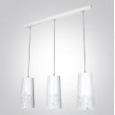 Rose Floral Craved Stainless Steel Designer Multi-Light Pendant Light with Oblong Canopy