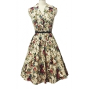 New Hot Vintage V-neck Sleeveless Floral A-line Dress with Belt