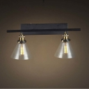 Country Style 2 Light Glass LED Wall Sconce in Black