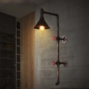 33'' H Large Pipe LED Wall Light in Rust Finish with Cone Metal Shade