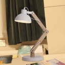 White Finished One Light Adjustable Wood LED Table Lamp