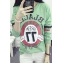 Fashionable Letter Print Round Neck Long Sleeve Thin Sweatshirt in Green