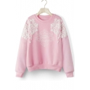 New Arrival Fashion Floral Letter Print Round Neck Long Sleeve Fleece Sweatshirt