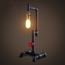 21'' H Industrial Style Pipe LED Table Lamp with Red Valve Decorated