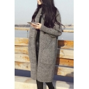 New Autumn Winter Women's Long Sleeve Knee Knit Cardigans