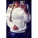 Women's Fashionable Off Shoulder Long Sleeve Knit Sweater