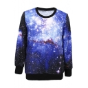 Women's Galaxy Print Roll Neck Pullover Sweatshirt