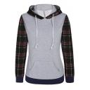 Women's Plaid Printed Long Sleeve Hooded Pullover Hoodies Sweatshirt