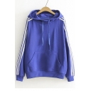 Fashion Striped Long Sleeve Drawstring Hooded Sweatshirt with Pocket