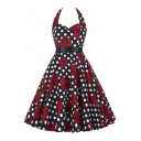 Vintage Self-tie Halter Polka Dot Floral A-line Dress