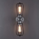 Vintage Style 2 Light Double LED Wall Sconce in Satin Nickel Finish