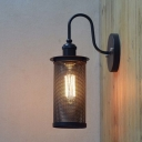 Vintage Black Down Lighting Mesh LED Wall Light in Industrial Style
