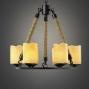 18'' Wide Industrial Style 6 Light 1 Tier LED Chandelier with Alabaster Glass Shade