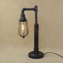 Vintage 1 Light Industrial Style Pipe LED Table Lamp with Metal Cage