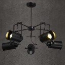 Black Finish Five Light Industrial Spotlight LED Chandelier 35'' Wide