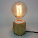 Natural Wood 1 Light Simple Mini LED Table Lamp