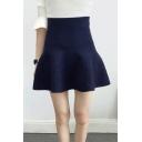 New Arrival Elastic High Waist Mini Umbrella Pleated A-line Skirt